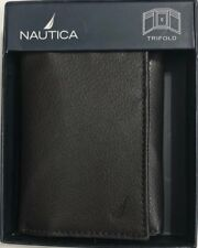 New Nautica Men's Leather Trifold Wallet Brown Color $17.50