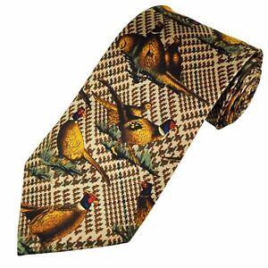 Pheasants Tie on brown check Pattern Silk Tie Shooting Gift NEW