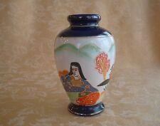 Superb Hand Made Japanese Cobalt Blue Satsuma Vase ~ Kannon,  pavilion & Trees