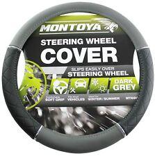 Montoya Steering Wheel Cover Black and Grey Leather LOOK Fit Car or Van