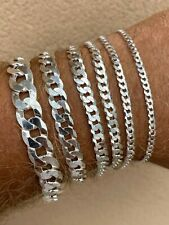 Real Solid 925 Sterling Silver Flat Curb Cuban Link Bracelet 3-10mm Italy Made