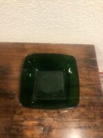 "Vintage Dark Green Square Glass Bowl 7 1/2"" By 7 1/2"""