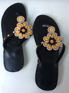 African beaded hand made leather slippers flip flops Size 40
