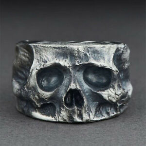 Cool Mens Punk Skull Ring Black Silver Band Hip Hop Ring Gothic Jewelry Size6-13