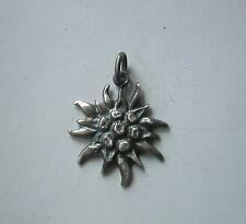Grande STELLA ALPINA . EDELWEISS ciondolo in ARGENTO 925 Brunito sterling silver