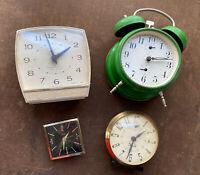 Lot: 4 Vtg WindUp Alarm Clocks parts repair Westclox Rex Jr Insa Bradley Radium
