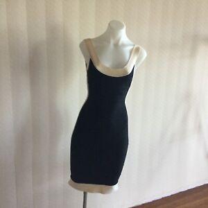 Herve Leger Black and Cream Sleeveless Bandage Style Dress Size Extra Small