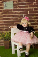"24"" Golden Hair Reborn Baby Dolls Lifelike Toddler Girl Soft Body Silicone Vinyl"