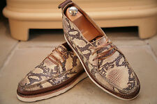 RARE yuketen Men's Made in USA Faux Serpent Cuir Chukka Bottes Chaussures UK 8