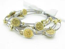 6 Gold Plated Stainless Steel Vintage Design Crystal Stackable Bangle Bracelets