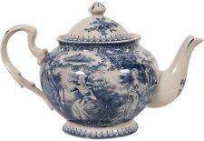 Teiera in stile inglese L24xPR15xH17 cm in ceramica decorata bianca e blu