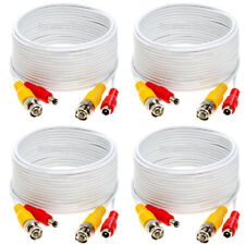 4 x 75ft Security Camera Cable CCTV Video Power Wire BNC RCA White Cord DVR