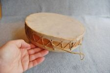 "Skin And Wood Drum Double Head Two Sides 9 3/4"" x 2 1/4""  Indian Style Laced"