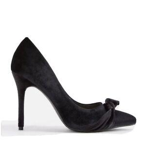 "JustFab ""Alyce"" Black Velvet Pump Heels. Stiletto heel. New in Box. Size 7.5."