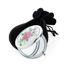 Small Compact Mirror Pink Flowers Metal Double Sided Mirror Handbag Makeup