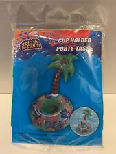Splash-N-Swim Palm Tree Cup Holder Inflatable beer can pool tropical blow up