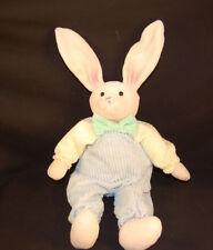 "Kentex Blue Corduroy Coveralls Soft Beige Bunny Rabbit 17"" Plush Stuffed Easter"