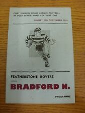 15/09/1974 programma Rugby League: Featherstone Rovers V BRADFORD del Nord (FOL