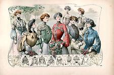 7 NEW Victorian Edwardian Ladies Dress Design Fashion Colour Prints 7 Pictures
