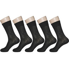 "5 Pairs Mens Black Mesh Thin Dress Socks ""Skin contact surface is 100% cotton"""