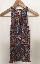 JOIE- Floral Sheer Sleeveless Pussybow Blouse- Size S NWOT