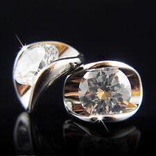 18k white Gold GF Diamond simulant stud elegant crystals earrings