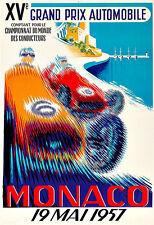 Grand Prix Monaco19 Mai 1957  Motos Automobile Car Race  Deco Auto  Poster Print