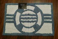 "Nautical Bathroom Bath Mat Rug Life Preserver Blue White 20"" X 30"" Coastal NEW"