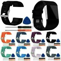 L/S Silicone Replacement Band Wrist Strap Bracelet + Tool Kits For Fitbit Surge