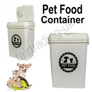 Nw 40L White Pet Animal Dog Cat Food Dry Feed Container Storage Box Bin & Scoop