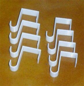 8x Fenster Klemm Halter (weiss) für Vitrage-/Gardienenstange, Einhänger, Haken