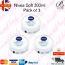 3 X Nivea Soft Refreshing Moisturising Cream FACE/HANDS/BODY 300ml