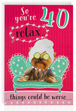 Quarantesimo anniversario-FEMMINA Divertente Humour Scherzo Saluti card-dog-cute-age - otc5033-1