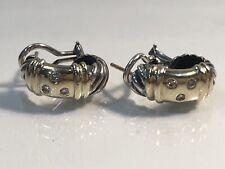 Rare David Yurman Metro Shrimp Earrings w/Diamonds Sterling Silver And 14k Gold