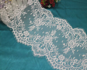 LOT 3 Meters Bright White French Style Chantilly Eyelash Double Edge Lace Trim
