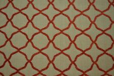 Brick Red Geometric Chenille Upholstery Fabric