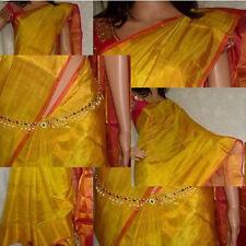 Gold Tissue Uppada Pure Silk Sarees Hand Weaved Indian Tradition Pattu Pink Sari