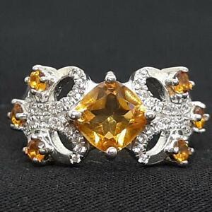 World Class 2.20ctw Golden Citrine & Diamond Cut White Sapphire 925 Silver Ring