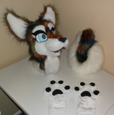 Festive Husky Fursuit Partial Animal Costume Mascot Head, Hand Paws, And Tail!