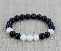 8mm obsidian moonstone Bracelet pray Meditation Gemstone energy cuff 7.5inches