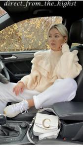 H&M Light Beige Cream flounced rib-knit jumper Sizes XS_S_M_L_XL