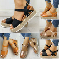 Womens Ankle Strap Flatform Wedge Shoes Espadrilles Summer Platform Sandals Size