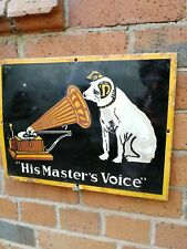 HMV enamel sign His Master's Voice enamel sign porcelain sign gramophone company