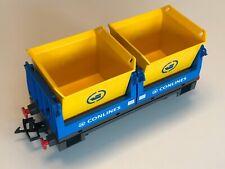 Wagon à charbon Playmobil 4125 Conlines bleu et jaune pour RC Train 4010 ou 5258
