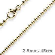 2,5mm Kette Goldkette Halskette Kugelkette aus 585 Gold Gelbgold, 45cm, Unisex