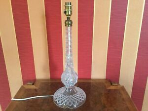 Vintage Clear  Cut Glass Round Column Table Bedside Lamp Base Stunning Quality
