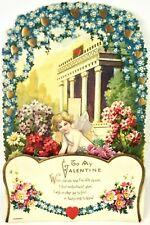 "Vtg Valentines Card Antique 20s 30s Germany Angel Honeycomb Cupid 8.75"" Embossed"