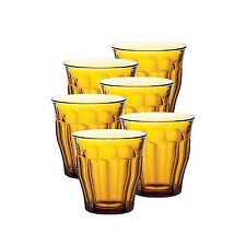 Set of 6 Duralex Picardie Amber Orange Tumblers 310ml - 31cl Glass Tumbler