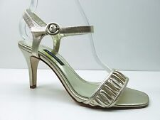 Caparros Gold Gathered Leather Ankle Strap Sandals Pumps Shoes 8M 8