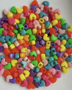 * Buy 2 get 1 free*150 x Mixed Color Opaque 12mm Heart Shape Pony Beads gift